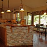 kitchen country home stone lamps chairs table