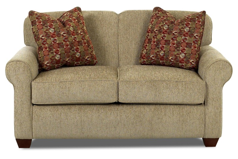 Klaussner Twin Size Sleeper Sofa In Light Brown Made Of Comfy Fabrics Plus  Red Cushions And