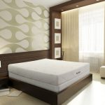 kluft mattress review for elegant and modern bedroom ideas with stunning wallpaper and wooden nightstand plus modern table lamp and wooden floor