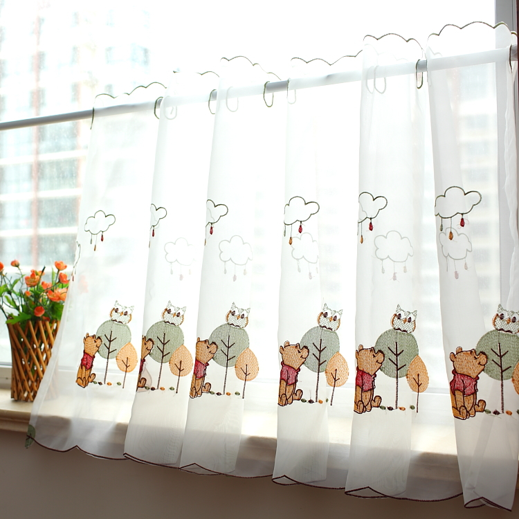 korean white half window curtains with pooh pattern decorated with flower vase nearby for beautiful window treatment