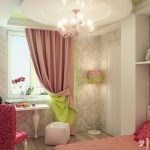 lamp curtain chair table bed girl bedroom