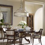 lamp round table 4 chairs flower mirror