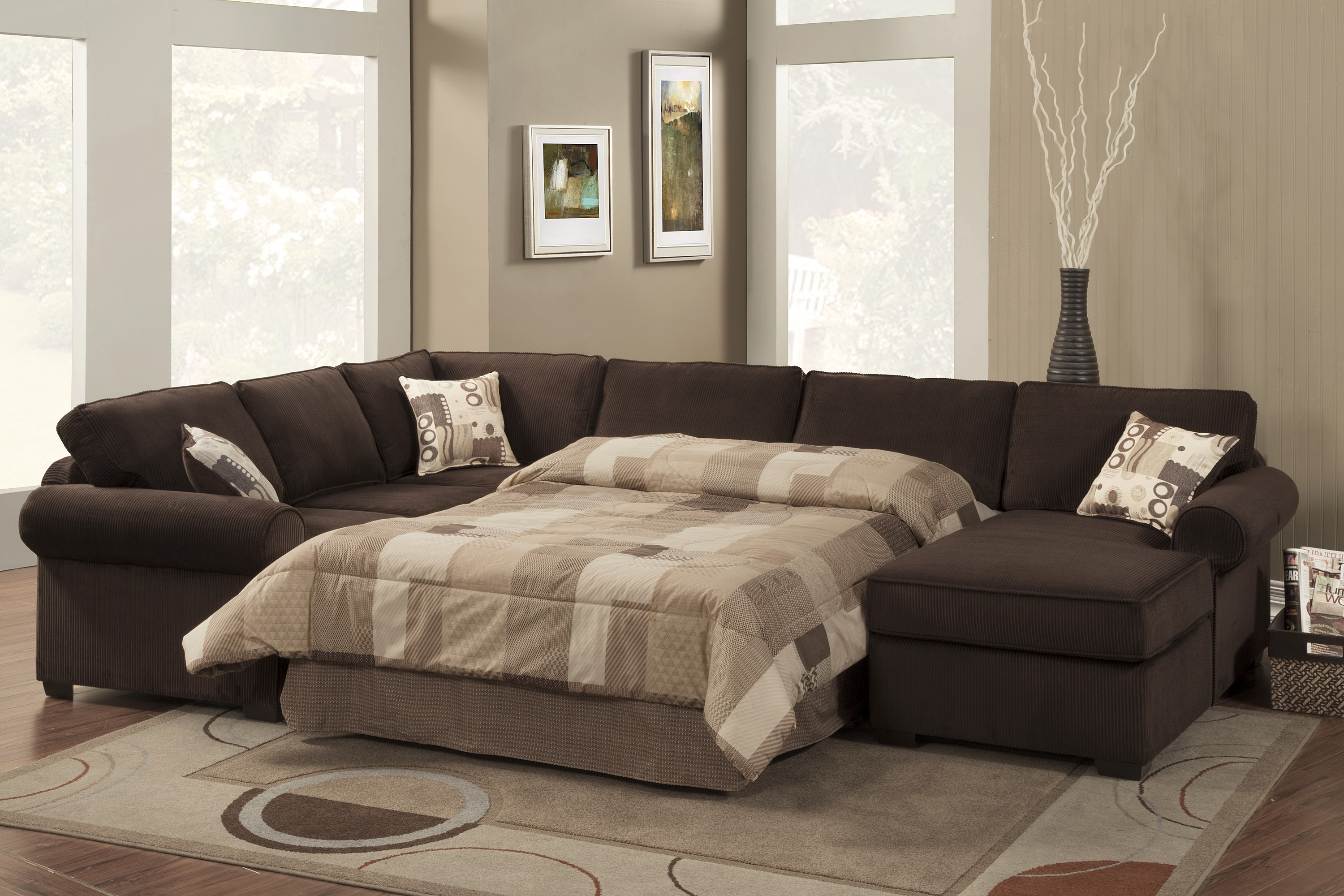 large bold brown sectional sofa sleepers with soft two tone bedsheets and cushions beautiful decorativedry plant : bed sectional couch - Sectionals, Sofas & Couches