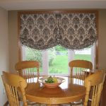 Large Etnic Gray Tone Outside Mount Roman Shades For Dining Room Natural Wooden Dining Set Decorative Fruit
