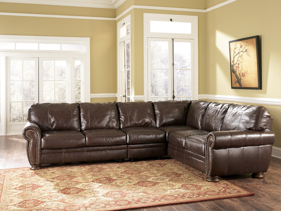 Leather Sectional Sofa In Brown Color And Best For The Money With Modern Rug