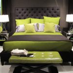 lime green wood leather end of bed benches grey lime modern bedroom lime green cushion and bedsheet grey white table lamps