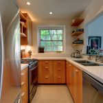 living kitchen small home steel refrigerator wood set square windows double sink shelfs cabinets