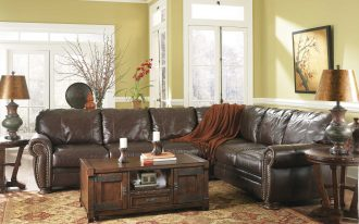 living room l shape sofa brown wooden coffee table rugs floor furniture leather couches