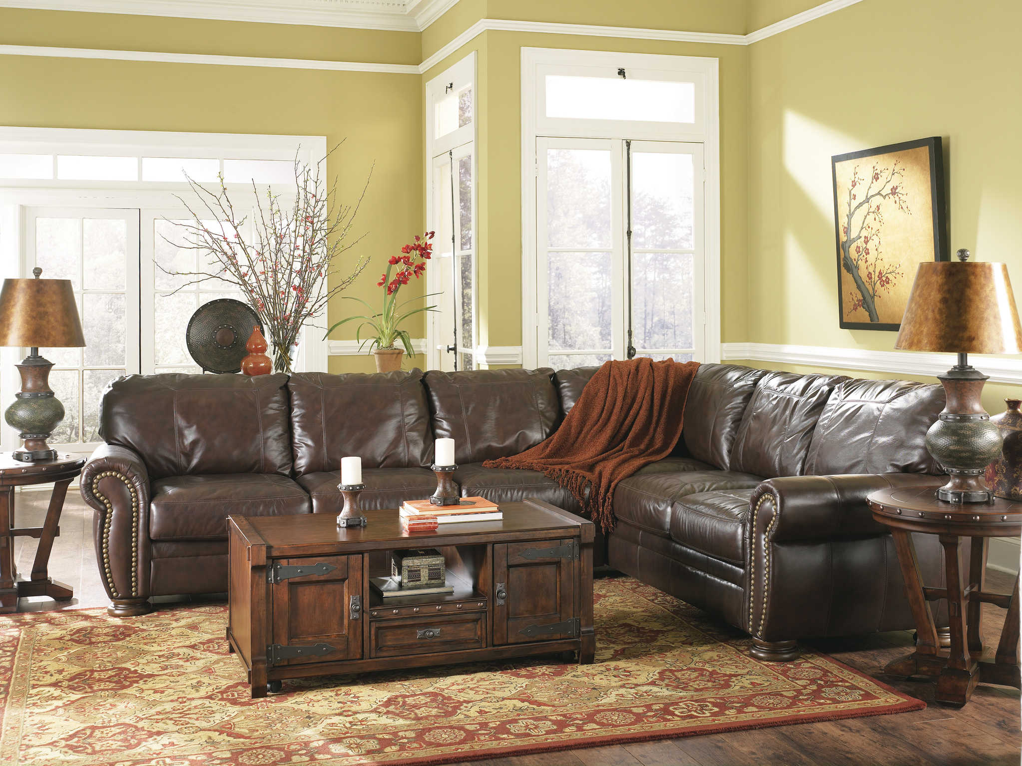 Living room leather sofa designs - Living Room L Shape Sofa Brown Wooden Coffee Table Rugs Floor Furniture Leather Couches