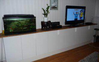 long cabinet aquarium tv pot plant rug