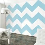 lovable vintage scandinavian interior with blue chevron patterned peel and stick removable wallpaper idea with rustic wooden floor and white table and acrylic chair