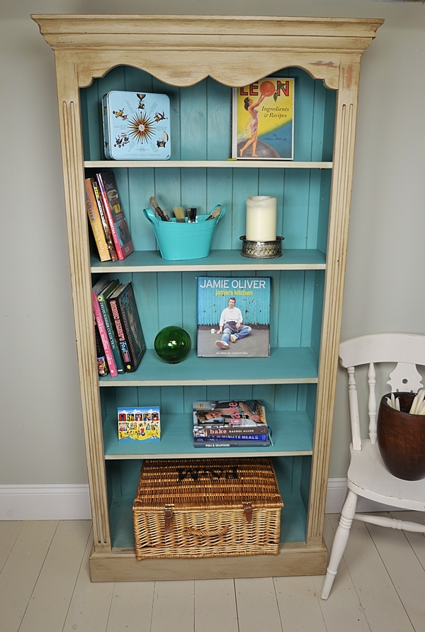 Lovely Beige Shabby Chic Bookshelves Design With Blue Color Accent Made Of Wood White Chair