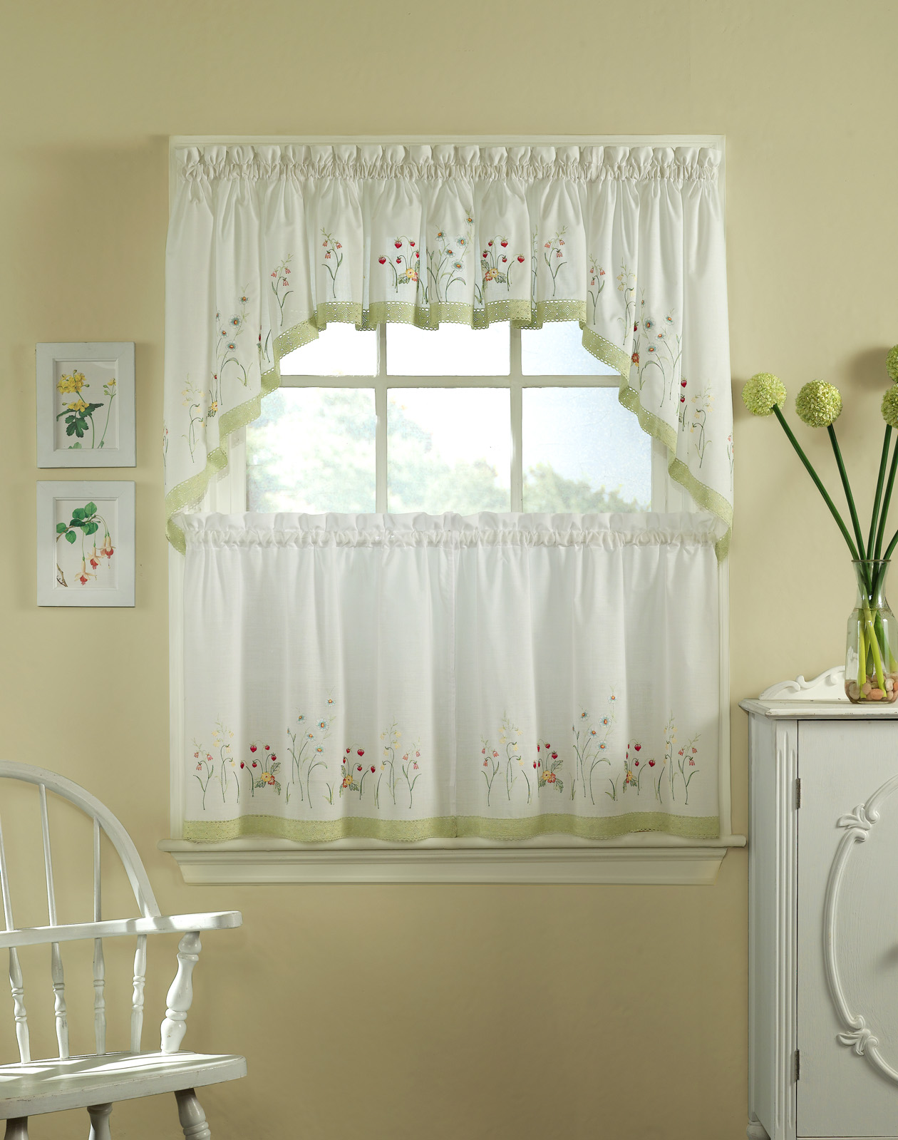 Kinds Of Vintage Floral Curtains - Lovely half window curtains with window valance and green floral accent plus vintage chair and wooden