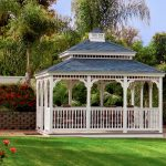 low walls white blue wood gazebo kits for beautiful flowery green outdoor