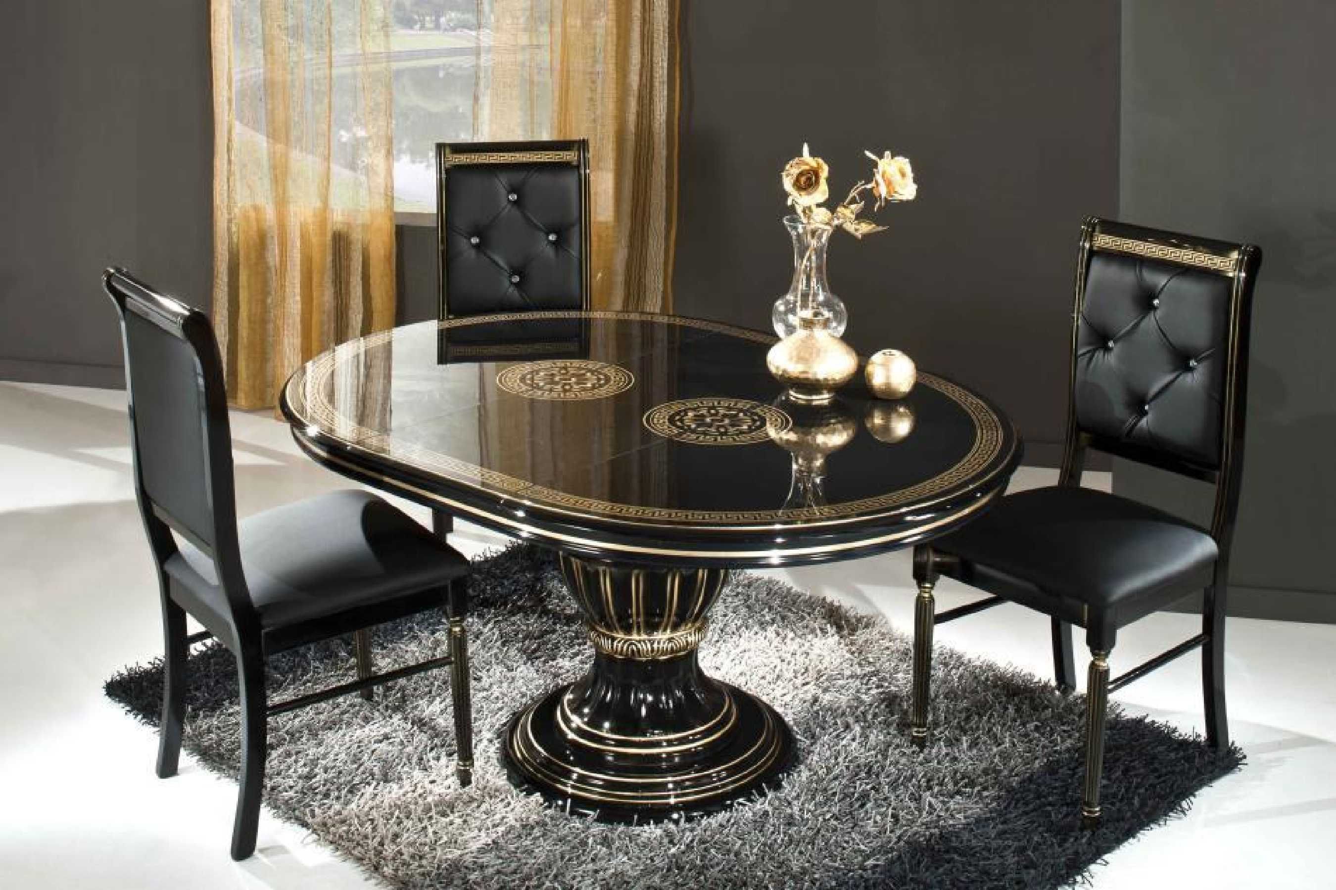 Luxurious Classic Black Varnished Wooden Small Oval Dining Table With  Wooden Lather Black Dining Chairs Beautiful
