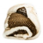 luxurious faux sheepskin throw with animal print in tiger style in brown and white tone