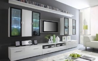 luxurious flat screen tv wall cabinet in white wood scheme decorated with shelf and media storage plus wall mount shelf and rug decorated on grey painted wall