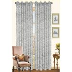 luxurious gray animal print patterned curtain idea with accent chair and wall pictures and wooden floor