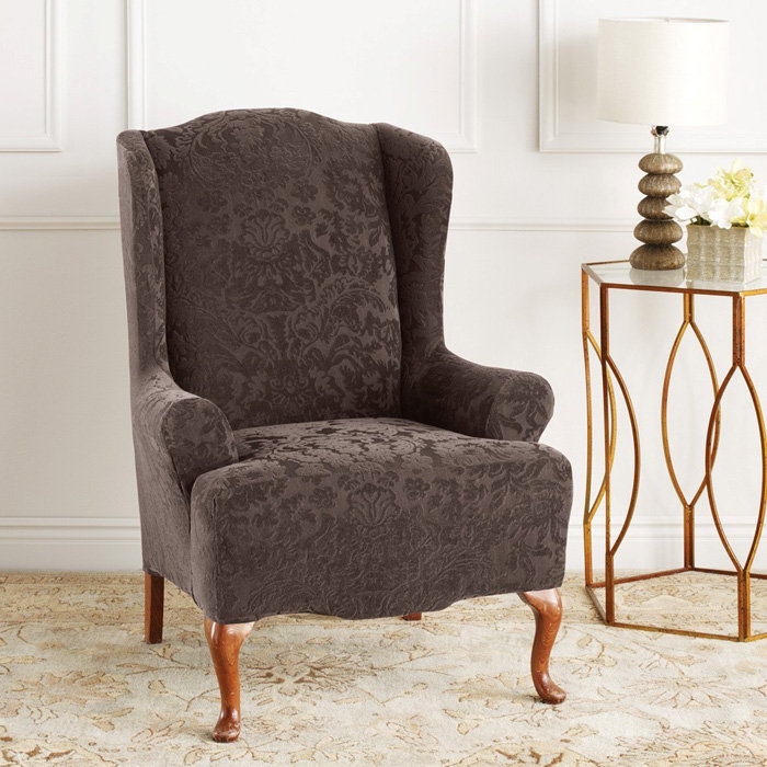 Wingback chair slipcover for comfortable seating homesfeed for Furniture slipcovers for wingback chairs