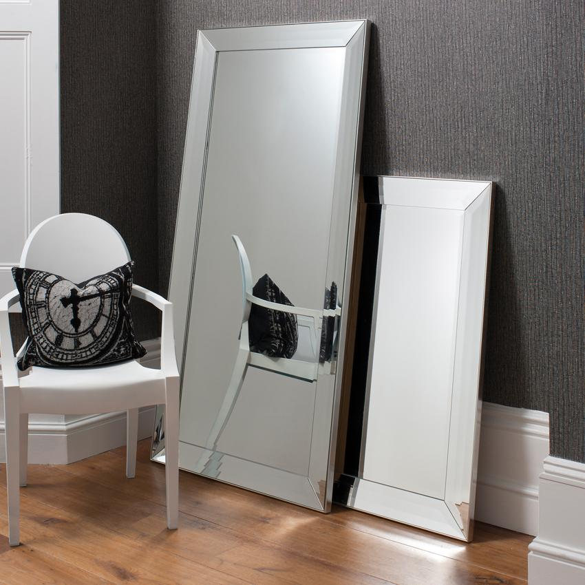 Some bevelled floor mirrors that add luxury for every for Black framed floor mirror
