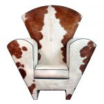 luxurious oversized cow print chair design with bols armless and wide backrest