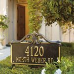 luxurious style frame lawn address signs house number and street name green front yard white style house