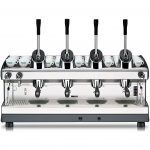 luxurious vintage hand espresso maker idea with four storage and pumps and large cups place with legs