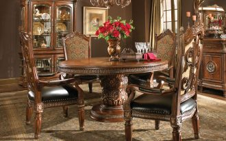 luxury four chairs round table lamp rug curtain pic buffet
