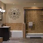 makeover home bathroom sink with brown cabinet mirror classic lamps white bathtub shower glass door