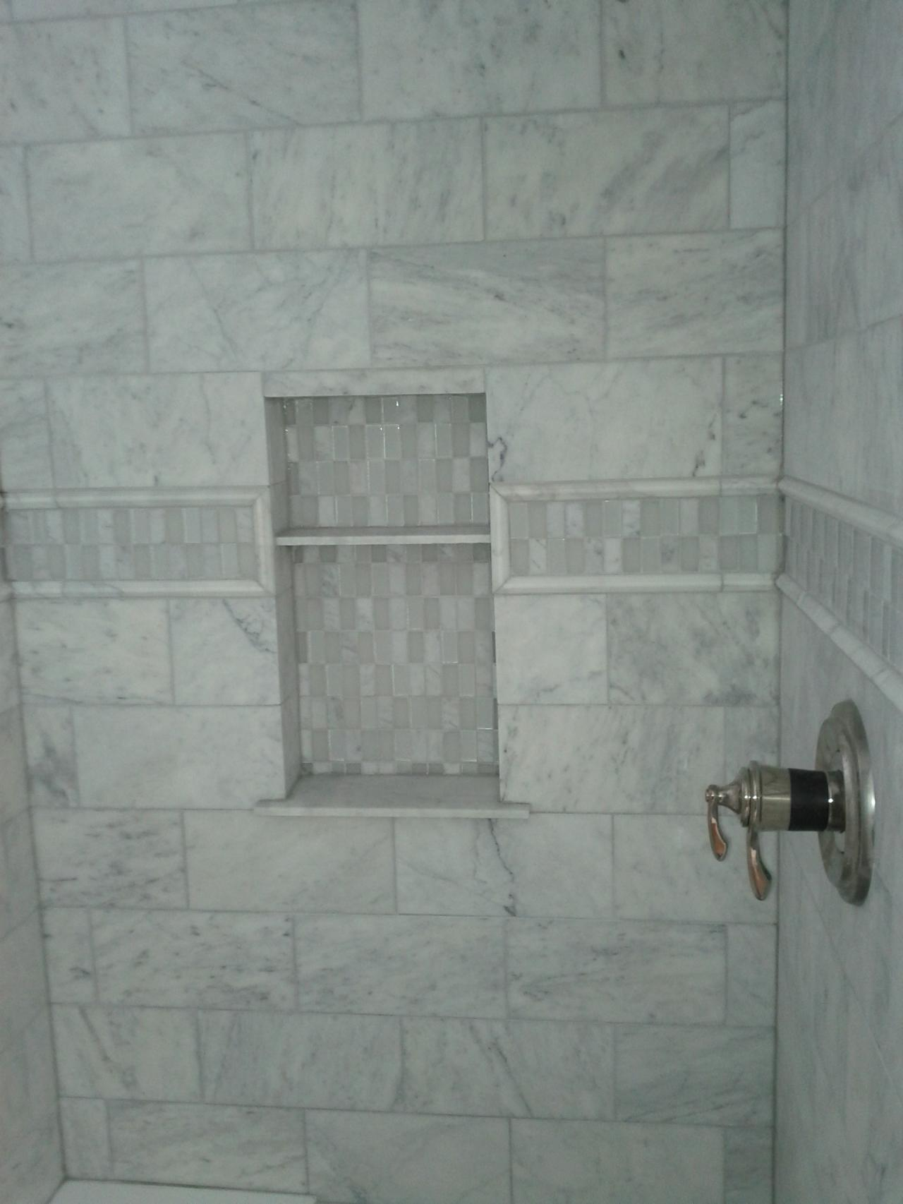 Marble subway tile shower offering the sense of elegance for Bathroom ideas marble tile