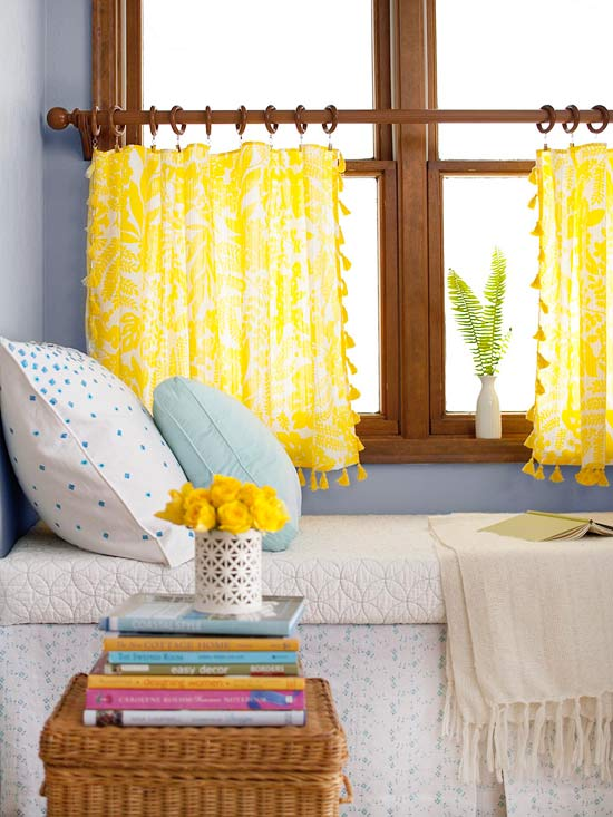 Mesmerizing Yellow Half Window Curtains Decorated In The Bedroom With Comfy  White Bedding And Pillow Plus