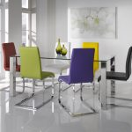 metal chrome table base for glass table rectangular glass table colorful metal chrome full back chairs white meeting room white flower wall picture