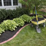 minimal garden idea with best mulch for landscaping with yellow cart and tree and low growing plant aside white house idea