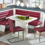 minimalist magenta corner breakfast nook furniture idea with stools on gray area rug with white table and gray bench