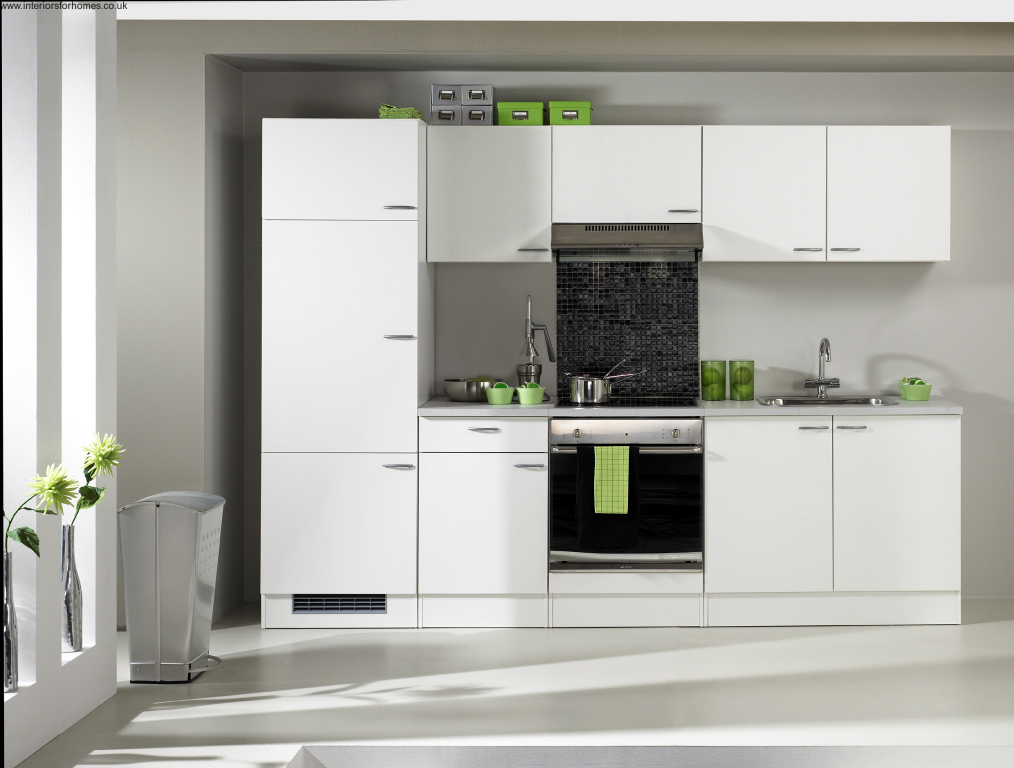 minimalist white avanti compact kitchen design with black accent of modern  stove top and floor to