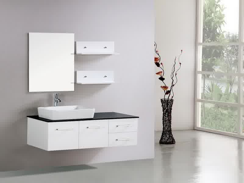 Minimalist White Ikea Bath Cabinet Design With Wall Mirror And Small  Storage And Vas Flower And