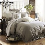 modern and elegant bedroom ideas with high end linens bedding set with quilt and coverlet plus comfy pillows and hardwood foloor and elegant pendant lamp