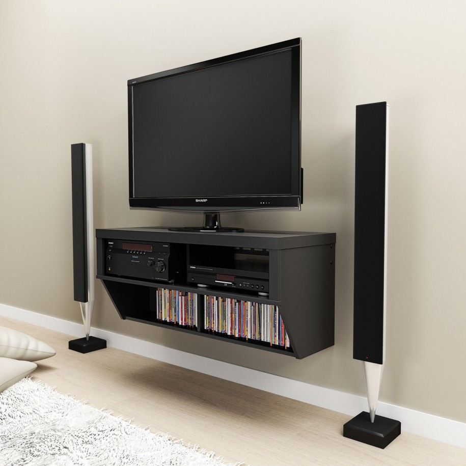 Modern And Space Saving Flat Screen Tv Wall Cabinet Made Of Wooden With  Media Storage And