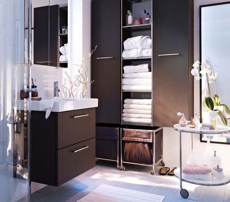 modern bathroom design with brown ikea bath cabinet with white top and large closet and round - Bathroom Cabinet Designs