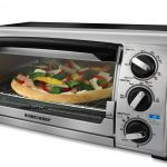 modern big toaster oven design in chrome and black tone with transparent door