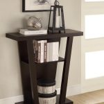modern classic skinny side table idea in V shape with storage beneath wall picture aside glass window on creamy area rug