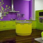 Modern Color Paint For Kitchen In Brave Purple And Green Tone With Wall Art And Hardwood Floor And Unique Round Island