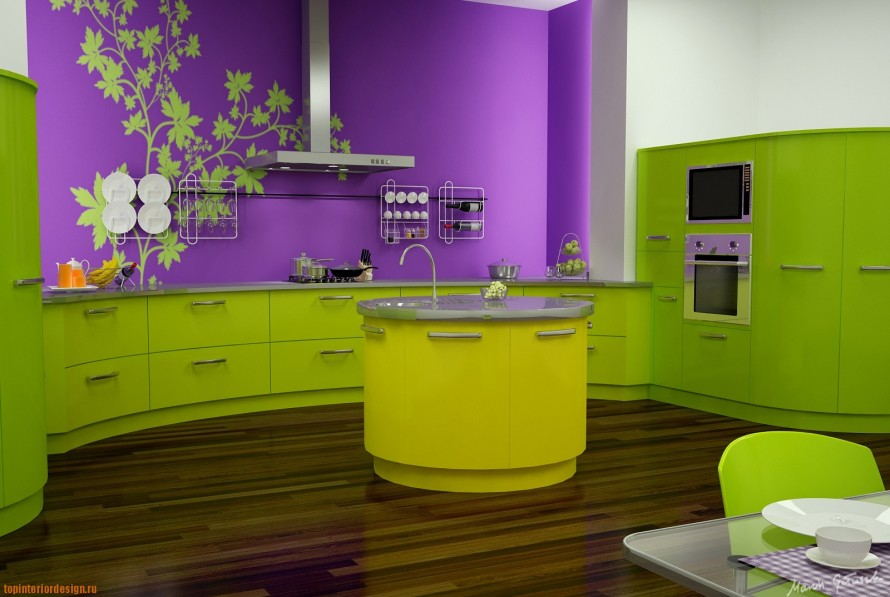 Modern Color Paint For Kitchen In Brave Purple And Green Tone With Wall Art  And Hardwood
