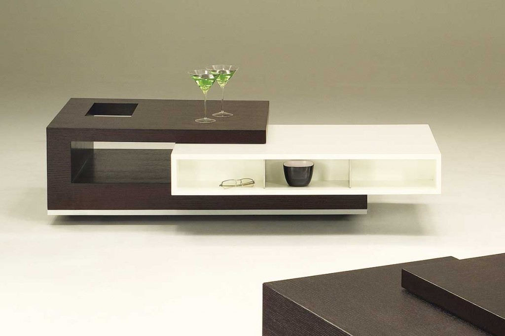 Modern Contemporary High End Coffee Tables In Dark Brown And White  Finishing Plus Storage Beneath For