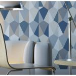 modern diamond shaped peel and stick removable wallpaper idea in navy blue color combination in living space with white sofa and chairs
