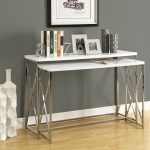 modern skinny side table idea with white top and stainless steel beam on wooden floor beneath gray painted wall and white ceramic