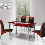 modern stainless steel table base for glass top modern red rectangular glass table black red stainless steel chairs clear white tile floor hanging glasses pictures