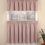 modern striped half window curtains in cafe style decorated with valances in red color plus table with vase nearby