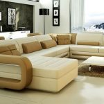 modern style two tones huge sectional sofa small soft brown fur rug ivory porcelaine floor artistic wall paintings wooden furniture