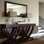 modern unique wooden console tables decorative flower modern style table lamps big mirror brown wooden floor